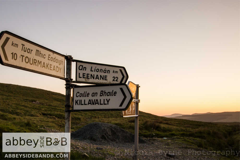 roadsigns in the mountains mayo