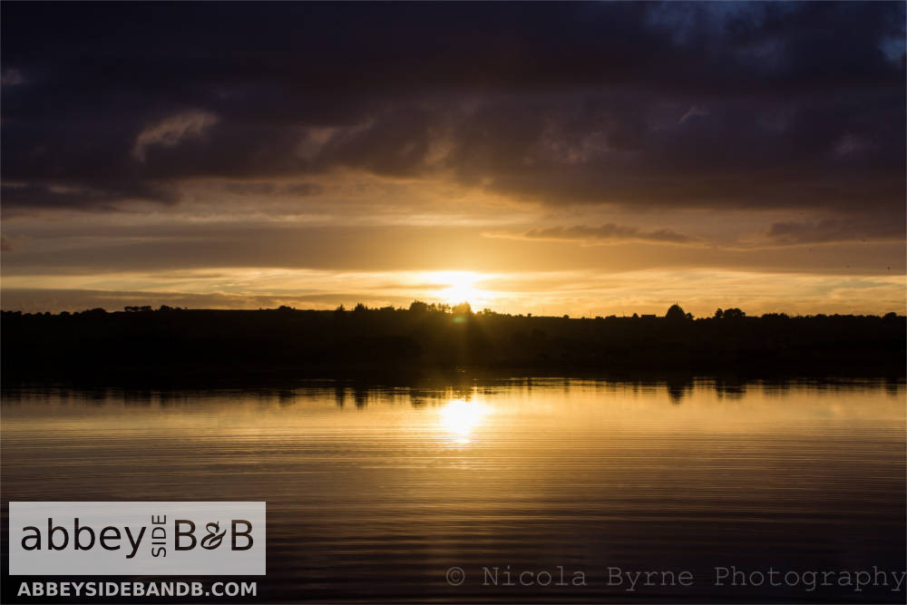 sunset over lough carra mayo